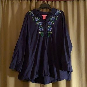 Navy Long sleeve floral blouse